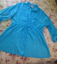 CUTE OPTIONS XL Cotton Gauzy Long Tunic Cover Up Turquoise Light As Air Excellen