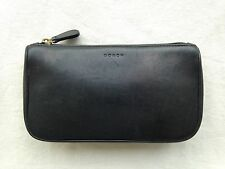 Vintage COACH Black Leather Cosmetic Bag Makeup Pouch Top-Zip Travel Clutch