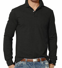 Mens Clothing Long Sleeve Plain Polo Shirt | S M L XL 2XL 3XL | Custom Fit Top