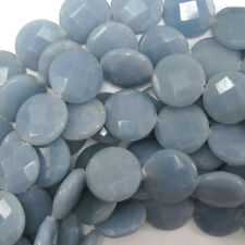 "20mm faceted blue angelite coin beads 15.5"" strand"