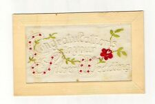 Estate Antique 1892 Embroidered Silver Wedding Anniversary Post Card FRAME THIS