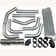 "Universal 2.5"" Aluminum Piping Kit + 28"" FMIC Turbo Intercooler + Black Hoses"