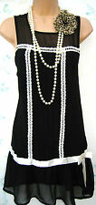SIZE 8 FLAPPER 20'S DECO GATSBY CHARLESTON STYLE RETRO DRESS - US 4 EU 36