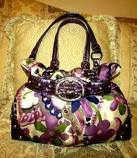 KATHY VAN ZEELAND PURPLE POLY FLORAL AND PURPLE CROC PRINT CORSET SHOULDER BAG