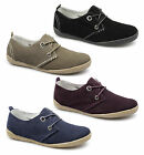 Womens Ladies Soft Suede Leather 2 Eye Lace-Up Padded Comfy Flats Casual Shoes