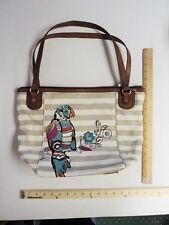 Women's Relic Parrot Bird Cream Canvas Tan Hand Bag Purse FLASH SALE