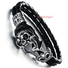 Genuine Leather Braided Wristband Stainless Steel Charm Bracelet Clasp Men Skull