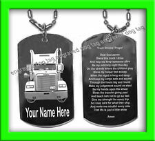 TRUCK DRIVER TRUCKER DOG TAG  PRAYER + SILVER RHODIUM FREE  PERSONALIZED