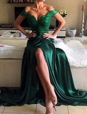 Dark Green Lace Elegant Appliques Prom Dress Open Back Evening Gown Custom-made