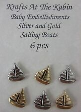 6pc Sailing Boats Embellishments for adorning cards and crafts 3silver and 3gold