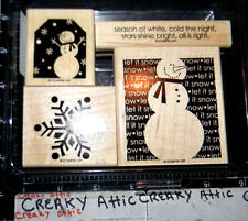STAMPIN UP TWO COOL DUDES 4 RUBBER STAMPS SNOWMAN TAG SNOWFLAKE