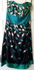 MONSOON CHRISTIE BLACK GREEN DIAMOND SILK PARTY PROM DRESS SIZE 10 BNWT
