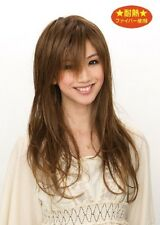 Japanese women fashionable full wig, long layered, dark blonde, heat resistance