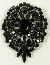VINTAGE SIGNED BLACK GLASS STONES BROOCH PIN AUSTRIA