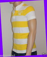 Abercrombie & Fitch Men's LARGE L Henley T-Shirt Striped YELLOW & WHITE w Button