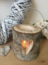 Bark Wood Log Lantern Hanging Heart Candle Tea Light Holder Wedding Decoration