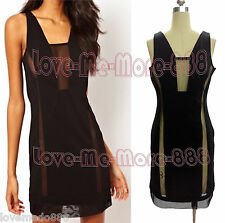 Sexy Hot Womens Club Party Dance Mesh Sheer See Through Back Dress Black MEDIUM