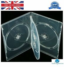 50 x 4 Way Clear DVD 14mm Spine Holds 4 Discs Empty Brand New Replacement Case