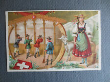 ANTIQUE Chromo Litho Trade Card ANGOULEME Drapers Shop Swiss Milkmaid , Shooting