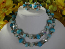 Vintage Vendome Necklace and Earrings set Aqua Blue & Crystal Beads Rhinestones