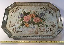 """LARGE VINTAGE TIN TOLEWARE SERVING TRAY - HAND PAINTED FLORAL - 26"""" X 18"""""""