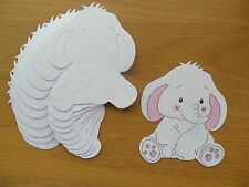 Luxury Cute Lellii Elephant Die Cuts - white shimmer card - for baby cards etc