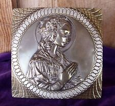 VTG Brass Copper? Easel Raised Plaque Mother Mary Praying D Colombo Figli Italy