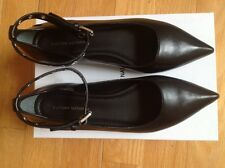 Costume National  Black Leather Ankle - Strap Ballet Flats Size 38 ( US 8 )