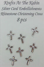8 Silver Cross Embellishments for Card Making and Scrapbooking/Rhinestone