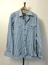 Stone Rose Red Rivet Collection Men 2XL LS BD Shirt blue Contrasting Cuffs EUC