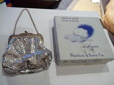 Vintage 1002S Whiting & Davis Co. silver mesh handbag purse in original box