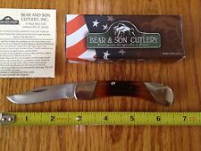 BEAR & SON MIDSIZE HUNTER LOCKBACK KNIFE 505 RED STAG BONE 3.75 CLOSED USA MADE