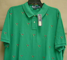 NWT$125 POLO RALPH LAUREN Men XXL EMBROIDERED FLAG CUSTOM FIT Mesh Shirt 0476210