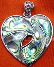 SALE Big 35mm heart natural Multicolor Abalone Shell Pendant-pen194