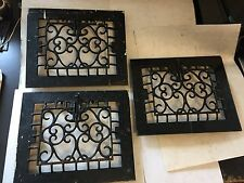 3 ANTIQUE ARTS CRAFT DECO VICTORIAN CAST IRON WALL HEATING GRATE VENT REGISTER