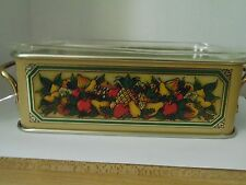 Vintage Pyrex Casserole Dish with Teleflora Tin Holder Loaf Pan Made in England