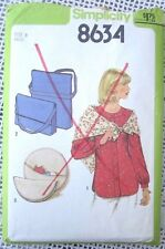 8634 SIMPLICITY SEWING PATTERN~UNCUT 1978~BLOUSE SZ 8~PURSE/SHOULDER STRAP BAG++