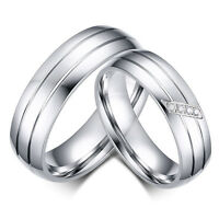 Silver Wedding Band Couple Stainless Steel Engagement Ring Women/Men's Size 5-13