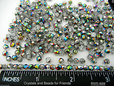 600 Preciosa Czech Glass Fire Polished Round Beads 4mm Crystal Vitrail coated