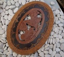 BALINESE HANDCARVED TIMBER OVAL PLACEMATS WITH RATTAN EDGE BIRD DESIGN 39cm