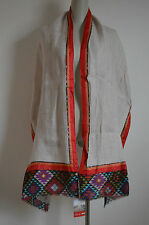 NWT NALINI Linen Silk Large Wide Long Scarf Shawl Wrap Aztec Tribal Boho Hippie