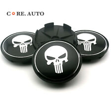 4* 68mm Black Skull Punisher Car Wheel Centre Hubs Caps Emblem