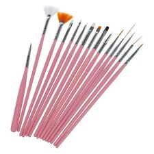 15Pcs Nail Art Acrylic UV Gel Design Brush Set Painting Pen Tips Tools Kit 13HE