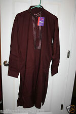 Pakistani Men Salwar Kameez Parties Casual Wear w embroidery Burgandy L