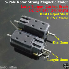 DC 12V 24V High Speed magnetic Double Shaft 5-Pole Rotor Motor for Car Boat Toy