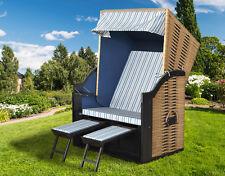 DEVRIES Strandkorb Trend 10 Natur Design mit Klapptisch 120x80x160cm Gartenmöbel