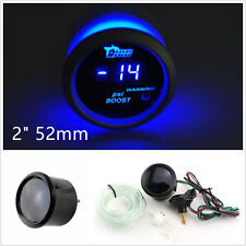 "2"" 52mm 12V Black Surface Blue LED Car SUV Digital Turbo Boost Gauge Meter PSI"