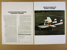 1970 McCulloch J-2 J2 Gyroplane color photo vintage print Ad