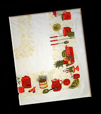 "Vintage Ivory Tablecloth, Kitchen Theme, Shabby Chic, Minor Flaws 50"" x 62"""