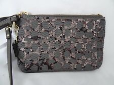 Coach Poppy Signature Sequin Wristlet Grey 50481 NWT